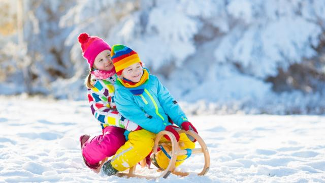 . Child sledding. Toddler kid riding a sledge. Children play outdoors in snow. Kids sled in snowy park in winter. Outdoor fun for family Christmas vacation.