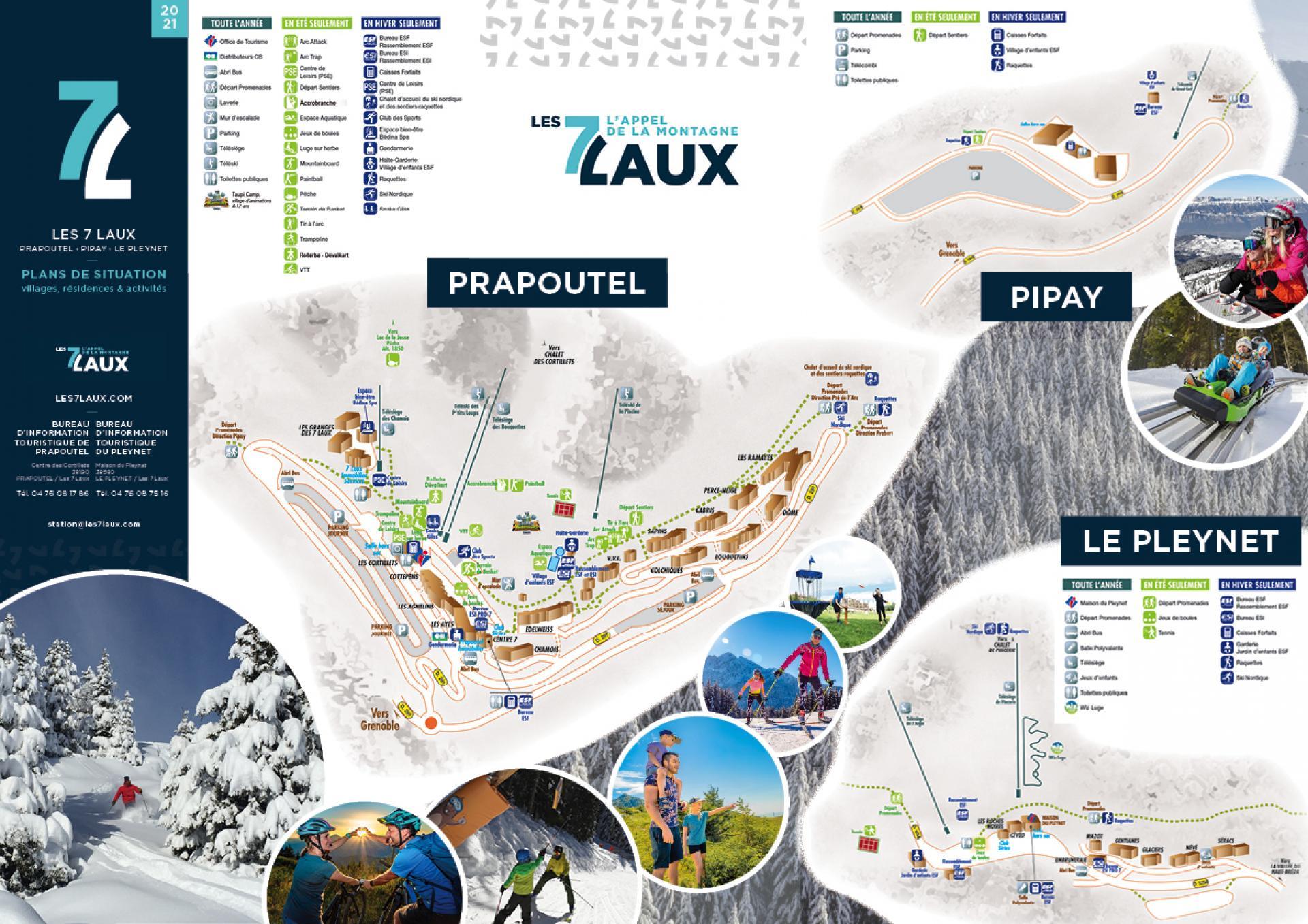 Les 7 Laux Plan de situation Prapoutel Pipay Pleynet